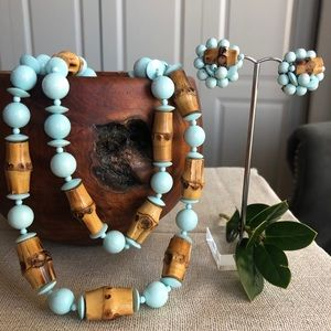 VTG Japan Blue & Bamboo Beads Layered Necklace